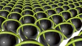 on line : rotating dark spheres and yellow rings. abstract 3d rendering Stock Footage