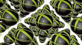 küreler : rotating dark spheres and yellow rings. abstract 3d rendering Stok Video