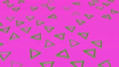 triangles : Green three-dimensional triangles fly on a purple. abstract background. 3d rendering Stock Footage