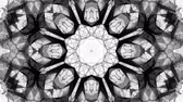 monokrom : black and white animated pattern. Abstract moving kaleidoscope. 3d rendering Stok Video