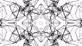 калейдоскоп : black and white animated pattern. Abstract moving kaleidoscope. 3d rendering Стоковые видеозаписи