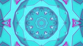 fundo branco : turquoise purple kaleidoscope pattern. abstract looped. 3d rendering