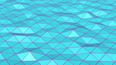 coin : turquoise low poly surface covered with is slowly deformed. abstract looped animation. 3d rendering Vidéos Libres De Droits