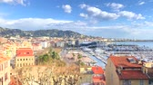 Panoramic view of Cannes, Promenade de la Croisette and Port Le Vieux of Cannes, French Riviera, France from above. Time lapse video Стоковые видеозаписи