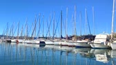View of the yachts in Marina of Cannes, French Riviera, France. Video 4K Стоковые видеозаписи