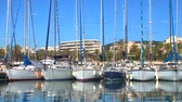 известный : View of the yachts in Marina of Cannes, French Riviera, France. Video 4K Стоковые видеозаписи