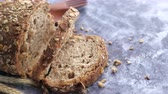 backen : top view of brown bread on table