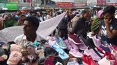 lovaglás : crowded people at street shopping for ramadan in bangladesh
