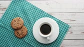 bolinhos : top view of coffee and cookies on table