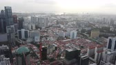 high angle view of singapore financial buildings at morning Stock mozgókép