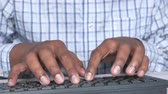 신고자 : Close up of man hand typing on keyboard