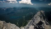 garmisch : View from the Zugspitze peak on Garmisch-Partenkirchen and Eibsee 4k time-lapse Stock Footage