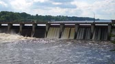 shortage : Large Wide Dam With Which Goes Stormy Water Draining On Wall Trench Stock Footage