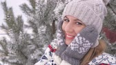 страна чудес : Portrait Cheerful Woman Having Fun In Winter On Snowy Day, Slow Motion 4K Стоковые видеозаписи