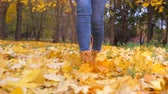 chutando : Close Up Woman Legs In Boots Walking To The Park With Yellow Fallen Leaves