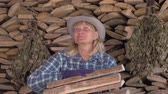 bundle of : Woman Holding A Bunch Of Firewood