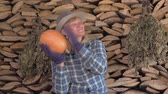 checks : Woman Farmer On The Background Of Stacked Wood Checks The Ripeness Of Pumpkins Stock Footage