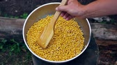 ervilha : Cooks Hands Stir Chickpeas With A Wooden Shovel In A Colander