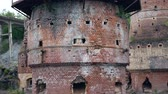 desvanecer : Panorama Bottom Up View Of The Abandoned Kilns Of The Marble Lime Plant Stock Footage