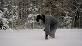 spades : Man In Winter After Snowfall Shovel Cleans Path Of Snow On Background Of Forest