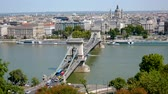 macar : Budapest, Hungary-August 27, 2018: Chain Bridge Over The Danube River Hill View Stok Video