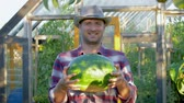 kciuk w górę : Smiling Farmer Holds Of Ripe Watermelon Background The Greenhouse In The Garden