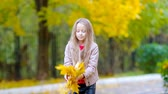 setembro : Adorable little girl outdoors at beautiful autumn day playing with leaves