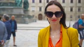 vídeň : Woman walking in city. Young attractive tourist outdoors in italian city