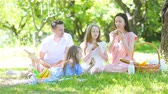bagietka : Happy family on a picnic in the park on a sunny day