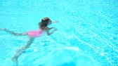 Adorable little girl swimming at outdoor swimming pool Dostupné videozáznamy