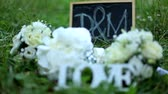 müsli : Wedding decoration word love , flowers and wooden plaque with the letters D and M on a background of green grass in the park