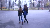dva lidé : Two girls are walking along the autumn park.