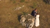 özveri : Aerial photography. aerial view. Loving boyfriend and girl in the background of a meadow.