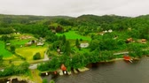 aerial survey : Norway. picturesque village near the river. aerial vie.
