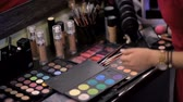 Make-up artist selects cosmetics for the client in the salon