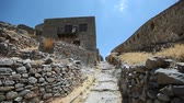 Island of Spinalonga in Crete Greece landmark. Ruins of an ancient fortress