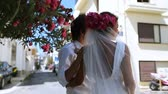 Beautiful newlyweds on the street. Stock Footage