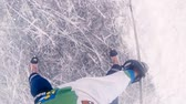paten yapma : two competitive hockey players skating on ice during a match Stok Video