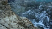 pedregulhos : sea waves beat on the stone shore. Greece Stock Footage