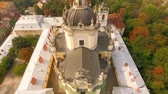 yura : Aerial view of St. Georges Cathedral Lviv Ukraine. Stock Footage