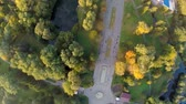 caminhos : Aerial View flight over the park in the city center. Ternopil Ukraine Stock Footage