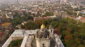 architectural : Flying over Cathedral of St. Jura Lviv Ukraine. Scenic view of the old city from a birds eye view