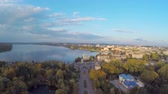 cartografia : Aerial View flight over the park and beautiful blue lake in the city center. Ternopil Ukraine Vídeos