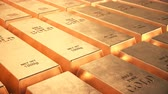 tesouro : Endless loopable moving stacks of detailed gold bars Stock Footage