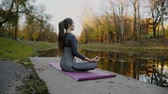 размышлять : Young woman practicing yoga outdoors. Female meditate outdoor infront of beautiful autumn nature.