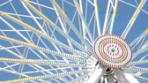 Ferris Wheel at amusement park. View of the center of the carousel that rotates at a slow speed.