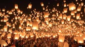 romance : Floating lanterns in Yee Peng Festival, Loy Krathong celebration in Chiangmai, Thailand. Wide angle view.