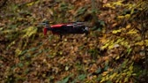 espião : Quadcopter in the air. Quadcopter shoots video in the autumn forest.