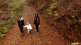 parentalidade : A young mother with her two children walks through the autumn forest. They walk along the forest path. They are happy. Shooting from the quadcopter. Stock Footage