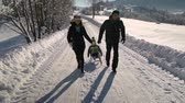 wintertime : Young happy family having fun playing in a snowy forest. Parents roll their little son on a sled. Slow motion.
